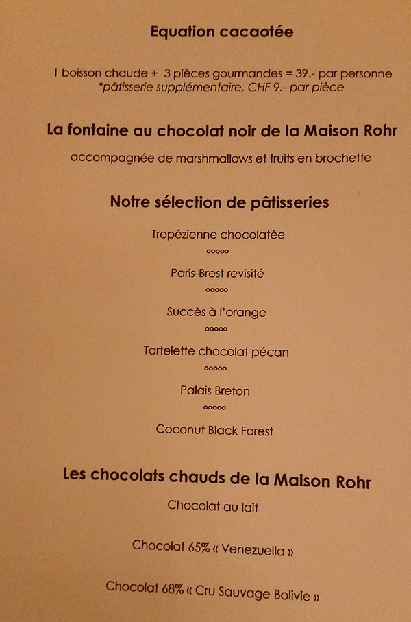 menu chocolate bar